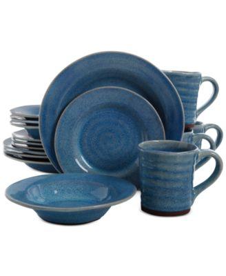 main image; main image ...  sc 1 st  Macyu0027s & Gibson Elite Mariani Blue 16-Piece Dinnerware Set - Dinnerware ...