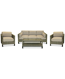 CLOSEOUT! North Port Wicker Outdoor 4-Pc. Seating Set (1 Sofa, 2 Club Chairs & 1 Coffee Table) with Sunbrella® Cushions, Created for Macy's