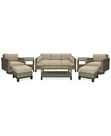 CLOSEOUT! North Port Wicker Outdoor 8-Pc. Seating Set (1 Sofa, 2 Swivel Club Chairs, 1 Coffee Table, 2 Ottomans & 2 End Tables) with Sunbrella® Cushions, Created for Macy's