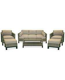 CLOSEOUT! North Port Wicker Outdoor 6-Pc. Seating Set (1 Sofa, 2 Club Chairs, 1 Coffee Table & 2 Ottomans) with Sunbrella® Cushions, Created for Macy's