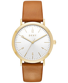 DKNY Women's Minetta Brown Leather Strap Watch 36mm, Created for Macy's