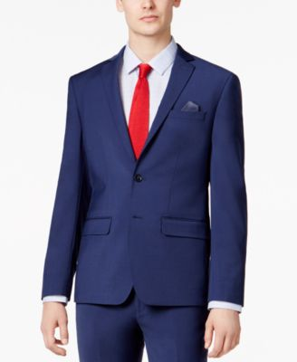 Men's Skinny Fit Stretch Wrinkle-Resistant Blue Suit Jacket, Created for Macy's