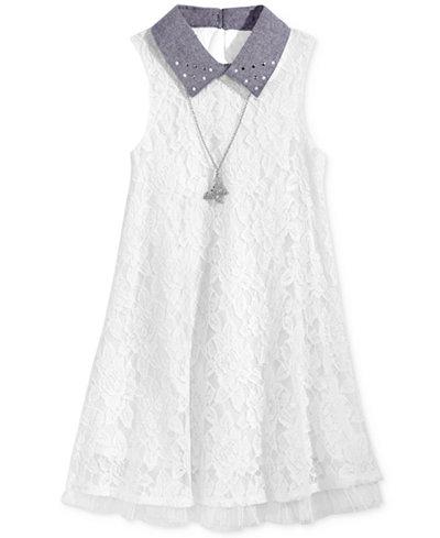 Beautees Lace Swing Dress, Big Girls (7-16)