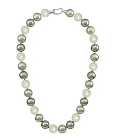 Pearl Necklace, Sterling Silver Multicolor Organic Man Made Pearls