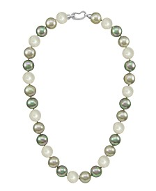 Majorica Pearl Necklace, Sterling Silver Multicolor Organic Man Made Pearls