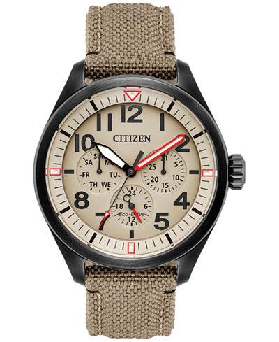 Citizen Men's Eco-Drive Military Khaki Nylon Nato Strap Watch 42mm BU2055-08X