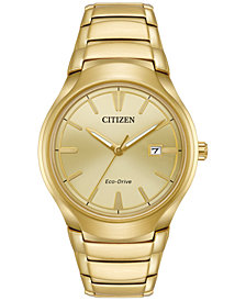 Citizen Men's Eco-Drive Dress Gold-Tone Stainless Steel Bracelet Watch 40mm AW1552-54P
