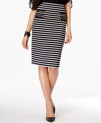 grace elements striped zip pocket pencil skirt