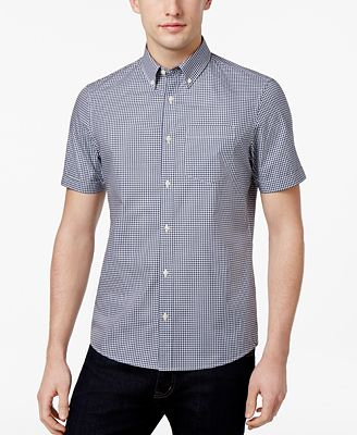 Michael Kors Men's Slim-Fit Short-Sleeve Cotton Oxford Shirt ...