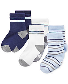 First Impressions 3-Pk. Striped Crew Socks, Baby Boys, Created for Macy's