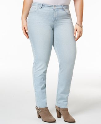 Style & Co Plus Size Striped Slim-Leg Jeans, Only at Macy's