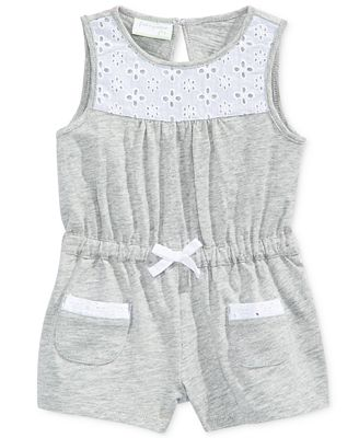 First Impressions Eyelet-Trim Cotton Romper, Baby Girls (0-24 Months), Only At Macy's