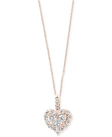 EFFY® Diamond Heart Pendant Necklace in 14k White Gold or Rose Gold (5/8 ct. t.w.)