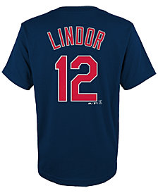 Majestic Francisco Lindor Cleveland Indians Official Player T-Shirt, Big Boys (8-20)