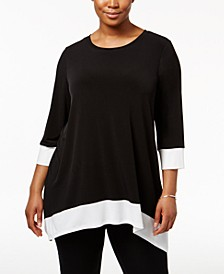 Plus Size Colorblocked Handkerchief-Hem Top
