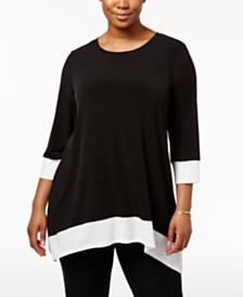Calvin Klein Plus Size Colorblocked Handkerchief-Hem Top