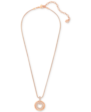 Swarovski Necklace, Rose Gold-Tone Pave Double Open Circle Pendant Necklace