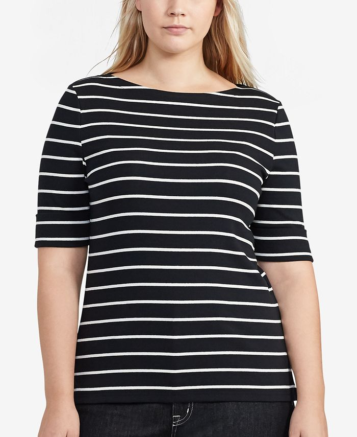Lauren Ralph Lauren - Plus Size Stretch Cotton Boatneck Top