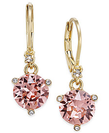kate spade new york Gold-Tone Pavé & Pink Cubic Zirconia Drop Earrings