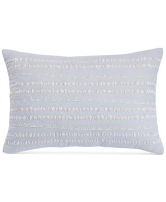 "bluebell gray Sophia Embroidered 12"" x 18"" Decorative Pillow, Created for Macy's"