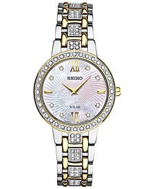 Seiko Women's Dress Solar Two-Tone Stainless Steel Bracelet Watch 28mm SUP360