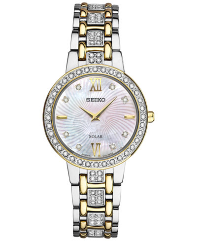 Seiko Women's Dress Solar Two-Tone Stainless Steel Bracelet Watch 28mm SUP360