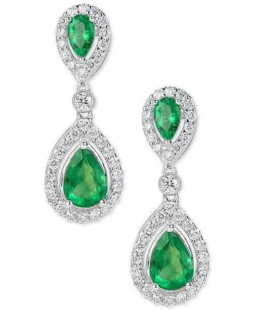 Macy's Emerald (1-3/4 ct. t.w.) and Diamond (5/8 ct. t.w.) Drop Earrings in 14k White Gold