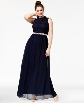 City Studios Juniors' Plus Size Lace A-Line Gown