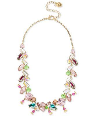 Betsey Johnson Gold-Tone Multi-Crystal Necklace
