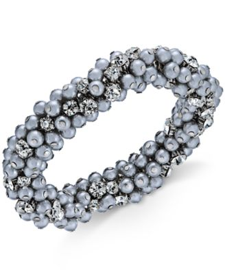 Image of Charter Club Silver-Tone Crystal & Gray Imitation Pearl Cluster Bracelet, Created for Macy's