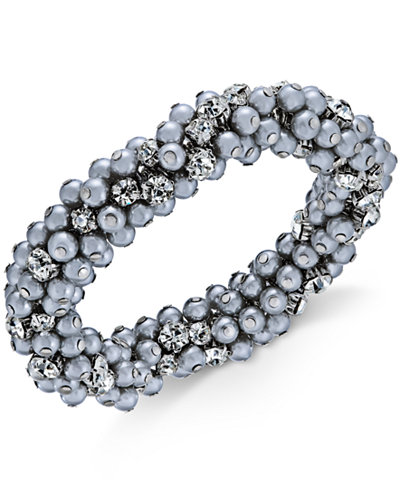 Charter Club Silver-Tone Crystal & Gray Imitation Pearl Cluster Bracelet, Created for Macy's