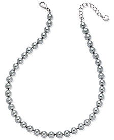 Charter Club Silver-Tone Cubic Zirconia & Gray Imitation Pearl Necklace, Created for Macy's