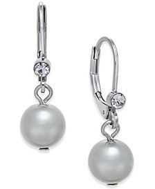 Charter Club Silver-Tone Pavé & Gray Imitation Pearl Drop Earrings, Created for Macy's