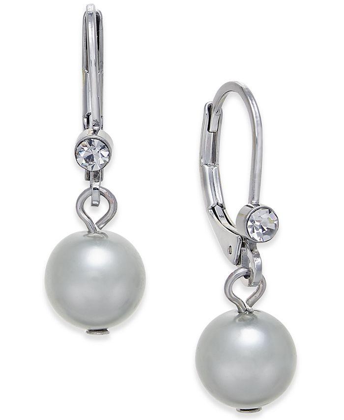 Charter Club - Silver-Tone Pavé & Gray Imitation Pearl Drop Earrings