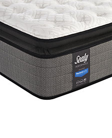 "CLOSEOUT! Sealy Posturepedic Plus Shore Drive 14"" Plush Euro Pillow Top Mattress Set- Queen with Adjustable Base"