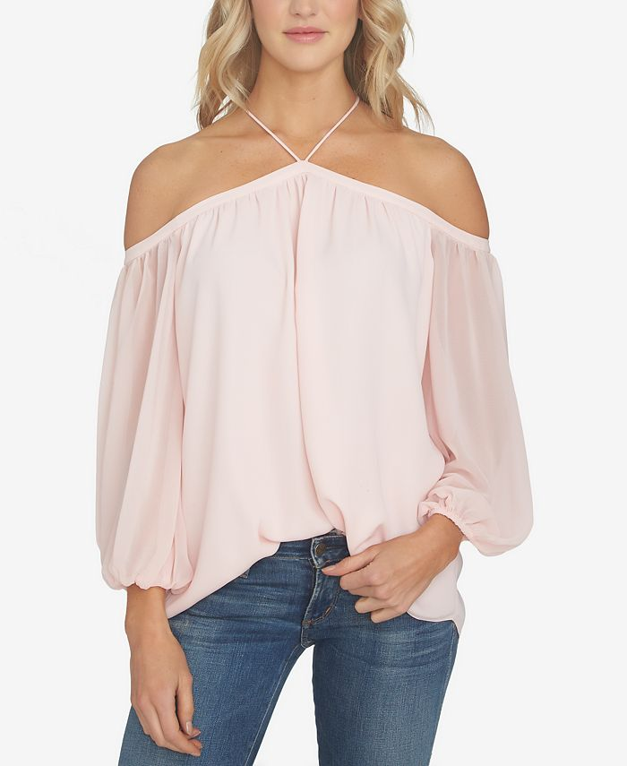 1.STATE - Off-The-Shoulder Chiffon Blouse