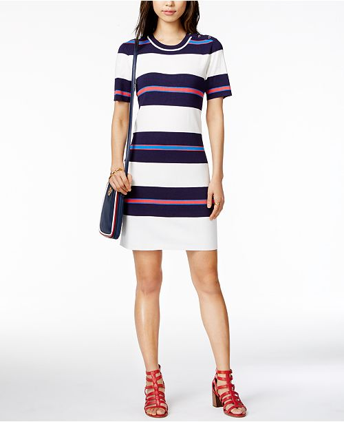 8c72f5f0352 Tommy Hilfiger Striped Sweater Dress, Created for Macy's & Reviews ...