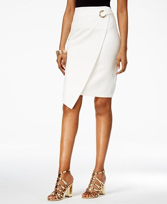 Thalia Sodi Asymmetrical Faux-Wrap Pencil Skirt, Only at Macy's