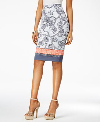 Thalia Sodi Mixed-Print Scuba Pencil Skirt, Only at Macy's