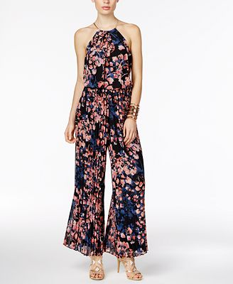 Thalia Sodi Floral-Print Halter Jumpsuit, Only at Macy's