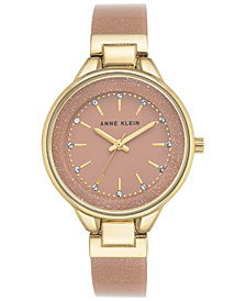 Anne Klein Women's Pink and Gold Shimmer Resin Bangle Bracelet Watch 36mm AK-1408LPLP