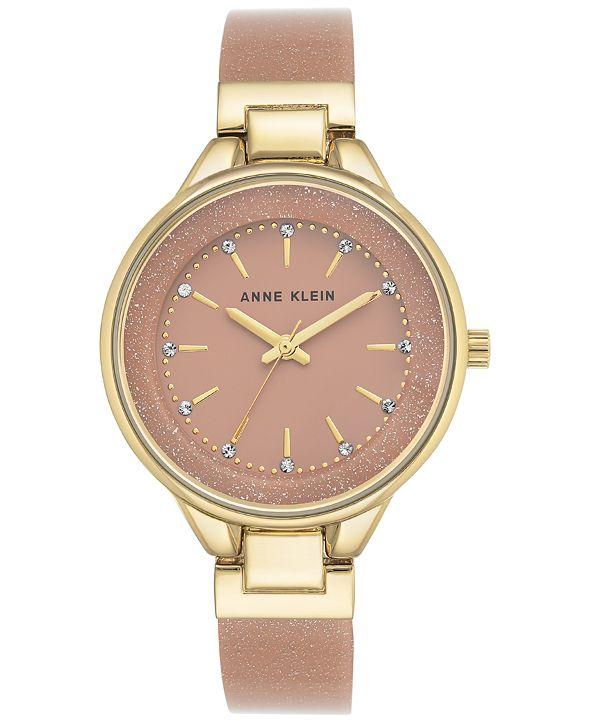 Anne Klein Women's Pink and Gold Shimmer Resin Bangle Bracelet Watch 36mm AK-1408LPLP