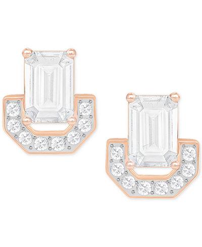 Swarovski Rose Gold-Tone Square Crystal Stud Earrings