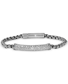 Men's Diamond Hammered Link Bracelet (1/10 ct. t.w.) in Stainless Steel