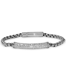 Men's Diamond Hammered Link Bracelet (1/10 ct. t.w.) in Stainless Steel