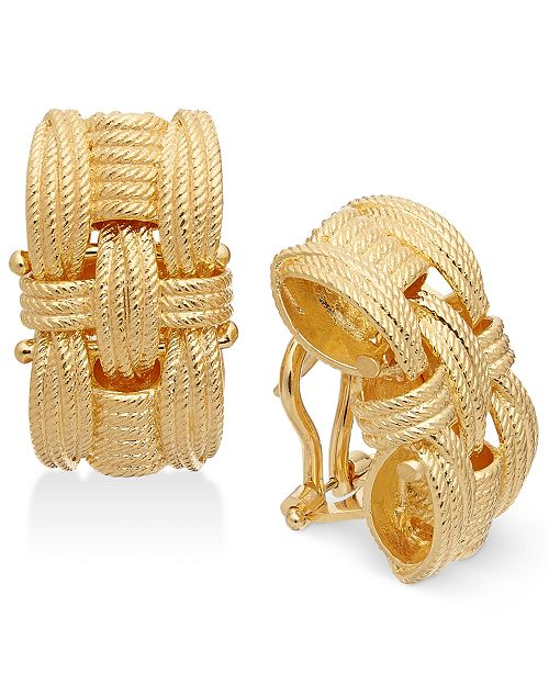 Italian Gold Textured Woven-Style Drop Earrings in 14k Gold-Plated Sterling Silver