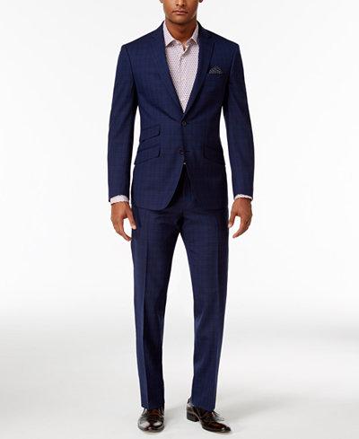 Tallia Men's Slim-Fit Navy Plaid Suit - Suits & Suit Separates ...