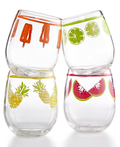 Martha Stewart Collection 4-Pc. Stemless Wine Glass Set, Created for Macy's