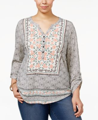 Style & Co Plus Size Mixed-Print Peasant Top, Only at Macy's