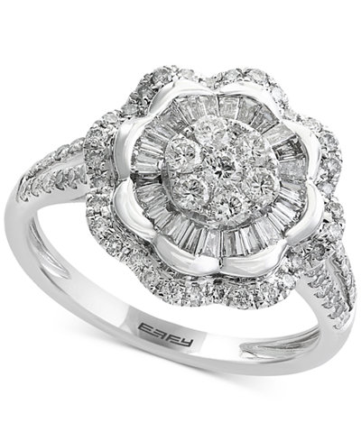 Classique by EFFY® Diamond Flower Ring (9/10 ct. t.w.) in 14k White Gold